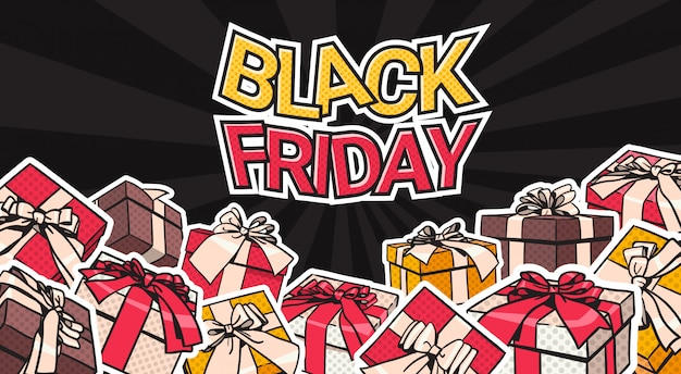 Black friday-fahnen-design mit geschenk und geschenkboxen auf hintergrund-einkaufsplakat-konzept
