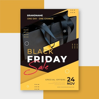 Black friday flyer vorlage in flachem design