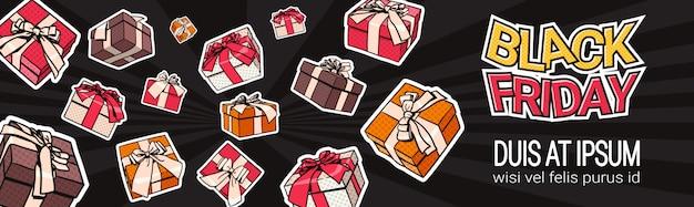 Black friday horizontal banner design mit geschenk- und geschenkboxen auf hintergrund shopping template po
