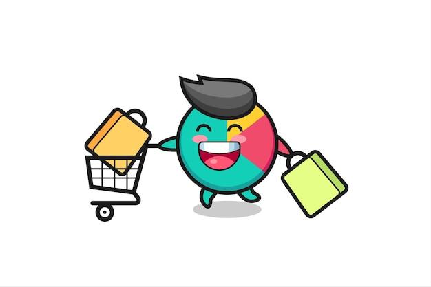 Black friday illustration mit süßem chart-maskottchen, süßem stildesign für t-shirt, aufkleber, logo-element