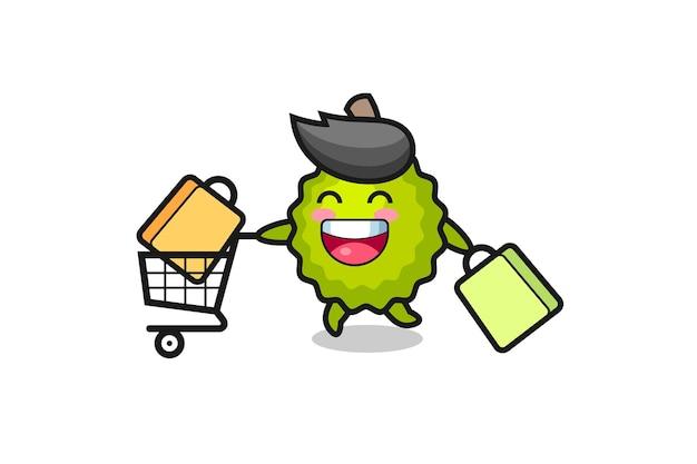 Black friday-illustration mit süßem durian-maskottchen, süßem stildesign für t-shirt, aufkleber, logo-element