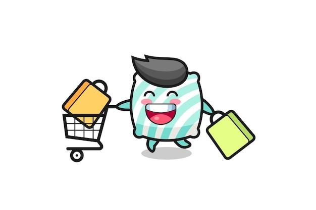 Black friday illustration mit süßem kissenmaskottchen, süßem stildesign für t-shirt, aufkleber, logoelement