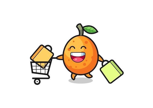 Black friday-illustration mit süßem kumquat-maskottchen, süßem stildesign für t-shirt, aufkleber, logo-element