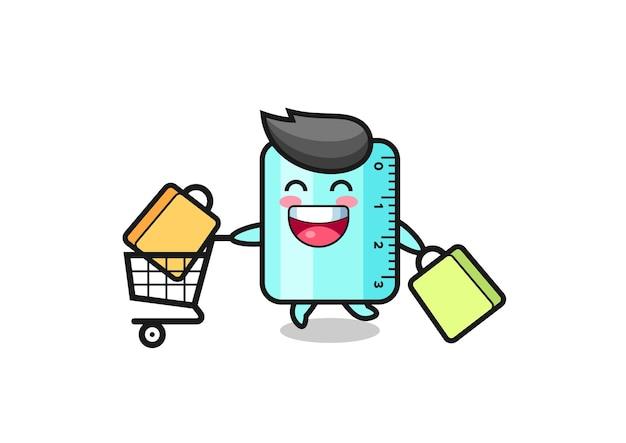 Black friday-illustration mit süßem lineal-maskottchen, süßem stildesign für t-shirt, aufkleber, logo-element