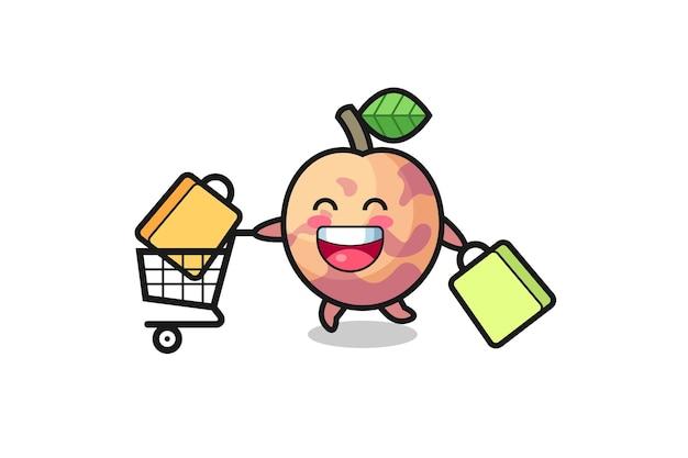 Black friday-illustration mit süßem pluot-fruchtmaskottchen, süßem stildesign für t-shirt, aufkleber, logo-element