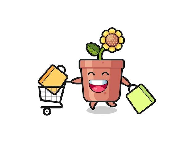 Black friday-illustration mit süßem sonnenblumentopf-maskottchen, süßem stildesign für t-shirt, aufkleber, logo-element