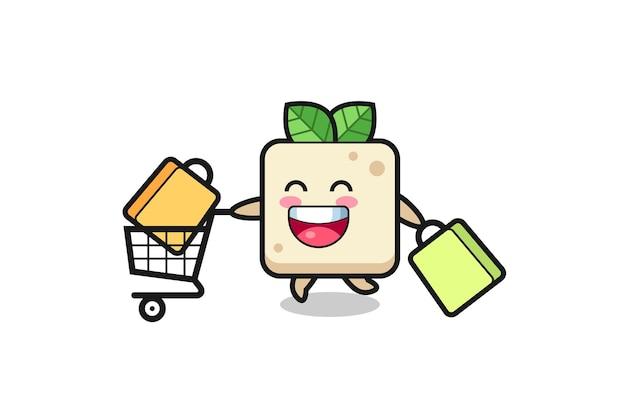Black friday-illustration mit süßem tofu-maskottchen, süßem stildesign für t-shirt, aufkleber, logo-element