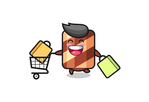 Black friday-illustration mit süßem waffelrollen-maskottchen, süßem stildesign für t-shirt, aufkleber, logo-element