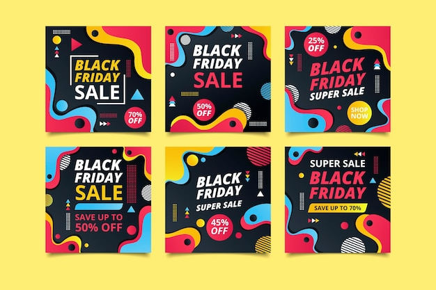 Black friday instagram beiträge in flachem design