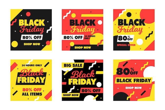 Black friday instagram beiträge in flachem design