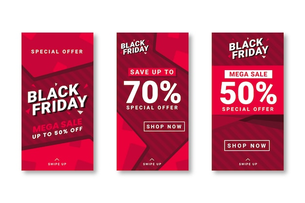 Black friday instagram geschichten in flachem design