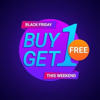Black friday kaufen 1 erhalten 1 kostenlose banner in neonfarbe hintergrund