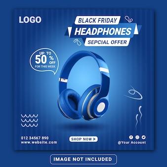 Black friday kopfhörer-markenprodukt-social-media-banner-design-vorlage oder quadratischer flyer
