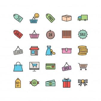 Black friday line gefüllt icons set
