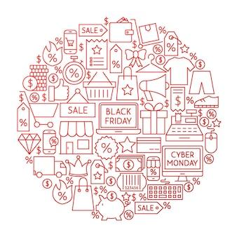 Black friday-linien-kreis-design. vektor-illustration von shopping sale-objekten hintrgrund isoliert weiß.