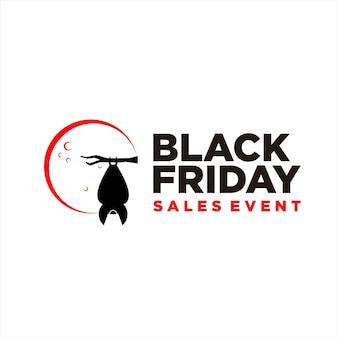 Black friday logo einfache moderne bannerwerbung mit fledermaus