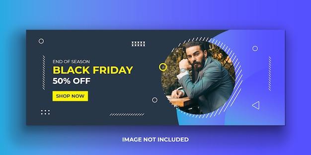 Black friday mode facebook cover banner vorlage