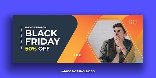 Black friday mode facebook cover banner vorlage
