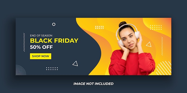 Black friday mode facebook cover banner vorlage Premium Vektoren