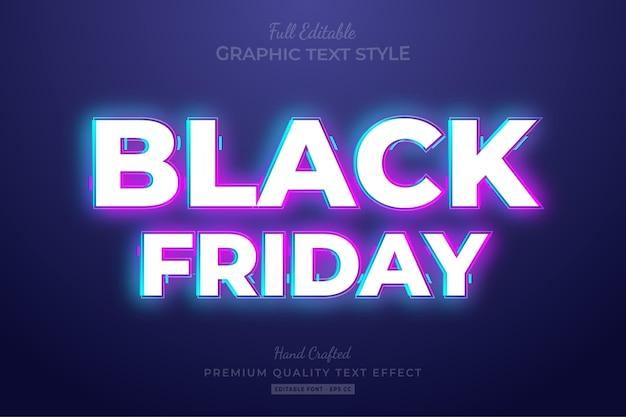 Black friday neon bearbeitbarer textstil-effekt