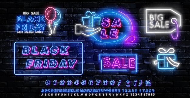 Black friday neon label. satz der lokalisierten leuchtreklame für black friday.