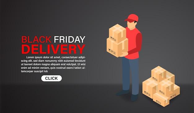 Black friday online-shopping mit zustellpersonal. isometrisches flaches design.