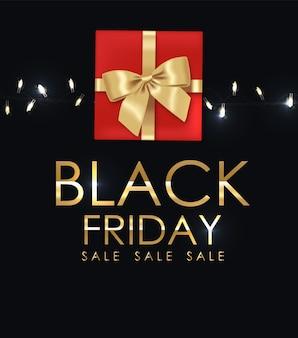 Black friday poster mit einem geschenk und lichtern