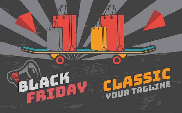 Black friday poster retro-vintage-illustration