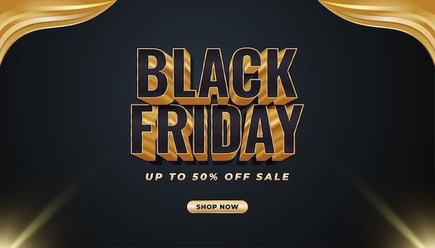 Black friday promotion sale banner mit 3d-text im schwarz-gold-konzept