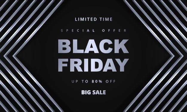 Black friday promotion sale banner vorlage. dunkler hintergrund des grauen und silbernen luxus.