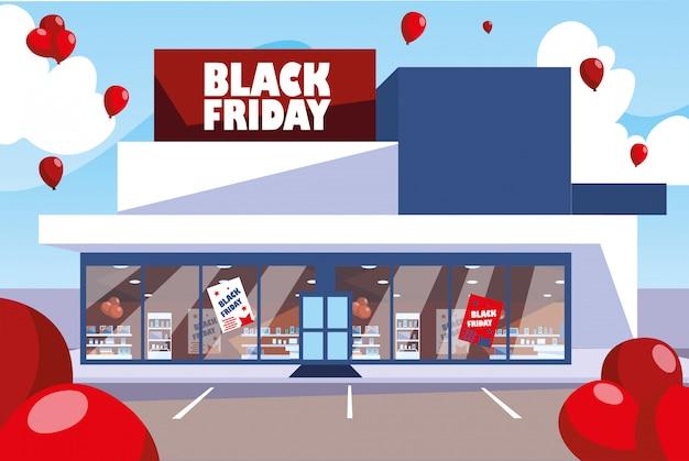 Black friday promotion sale shopping banner mit produkten und rabatt