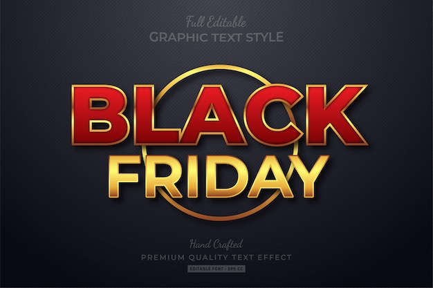 Black friday red gold bearbeitbarer textstil-effekt