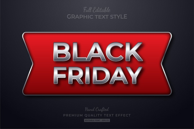 Black friday red silver bearbeitbarer textstil-effekt