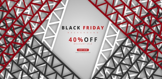 Black friday sale 40 rabatt hintergrund mit angebotsaktion in roter schrift und schwarzem stil premium