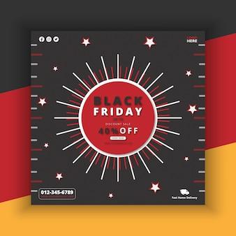 Black friday sale 40 rabatt poster mit angebotsaktion in roter schrift und schwarzem stil premium-vektor