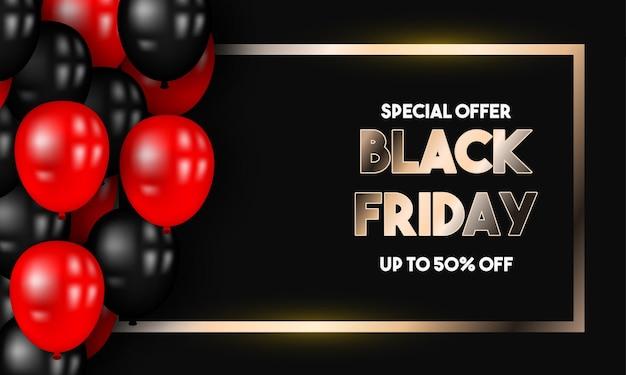 Black friday sale 50 rabatt mit roten und schwarzen ballons