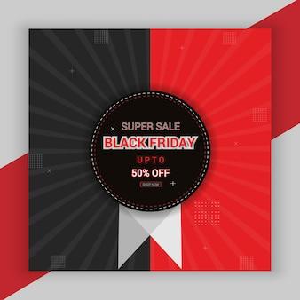 Black friday sale 50 rabatt poster mit angebotsaktion in roter schrift und schwarzem stil premium-vektor