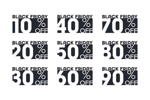 Black friday sale aufkleber mit prozent rabatt bieten typografisches design template set isoliert auf weißem hintergrund. neue niedrigere preise ausverkauf von 10, 20, 30, 40, 50, 60, 70, 80, 90 prozent