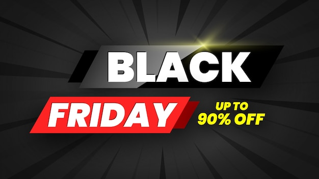 Black friday sale banner, bis zu 90% rabatt. illustration.