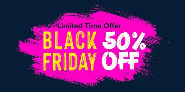 Black friday sale banner design auf pinselstrich hintergrund