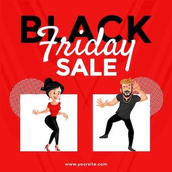 Black friday sale banner design. junge und mädchen tanzen.