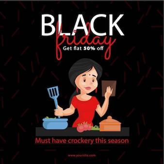 Black friday sale banner design mit frau