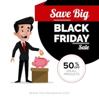 Black friday sale banner design mit mann, der geld spart