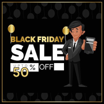 Black friday sale banner design mit mann, der handy zeigt