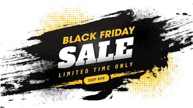 Black friday sale banner design mit pinselstrich
