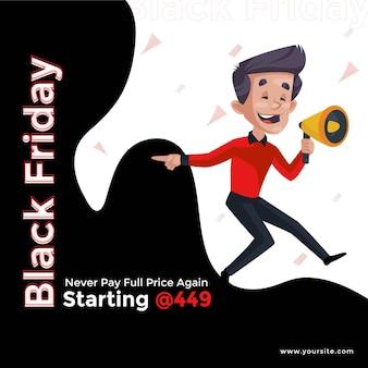 Black friday sale banner design vorlage mit boy holding megaphon