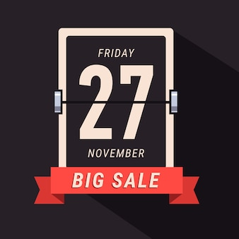Black friday sale banner, flipping kalender seite