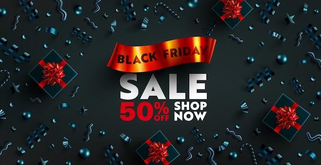 Black friday sale banner für einzelhandel, shopping oder promotion mit rotem band, schwarzer geschenkbox und weihnachtselement auf dunklem hintergrund. black friday banner design.