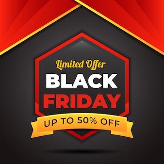 Black friday sale banner im sechseckigen design
