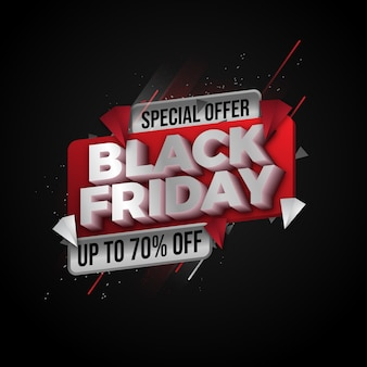Black friday sale banner layout design vorlage. rotes und schwarzes design
